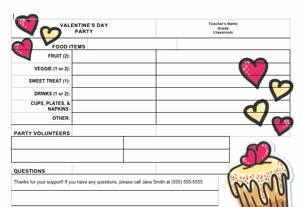 Pto Sign Up Sheet Template Lovely Sign Up Sheet for Valentine S Day Classroom Party From Pto