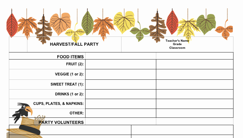 Pto Sign Up Sheet Template Luxury Fall Festival Sign Up Sheet Free From the Pto