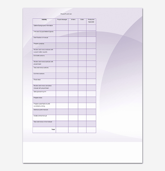 Punch List Template Word Elegant Punch List Template 14 Word Excel Pdf format