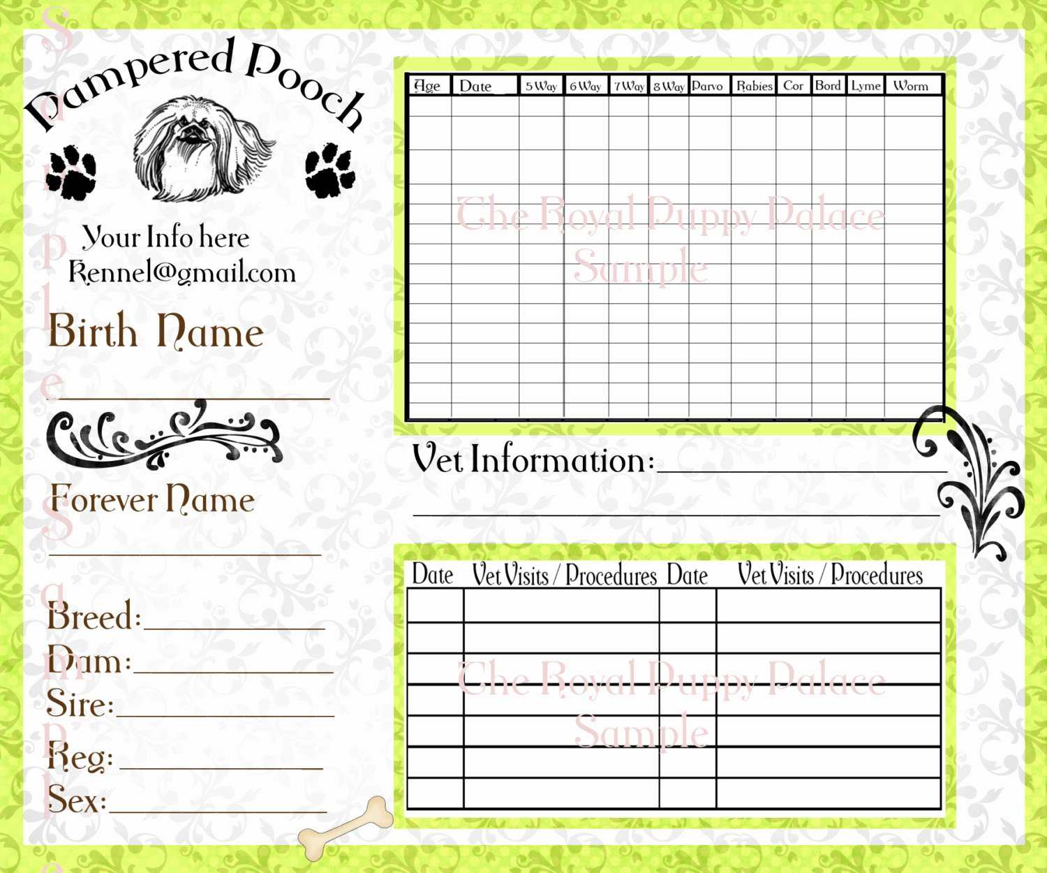 Puppy Record Template New Pampered Pooch Green Customizable Vaccination Cards for Dog