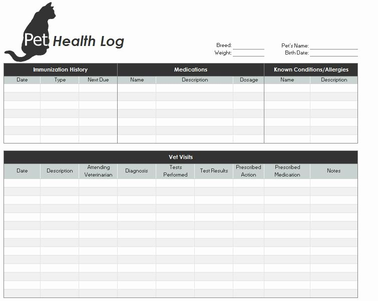 Puppy Record Template New Pet Health Record Template