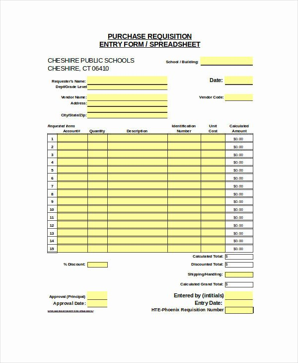 Purchase Request form Template Fresh 22 Requisition forms In Excel