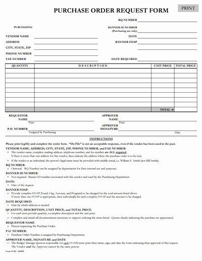Purchase Request form Template New Purchase order Request form Template Free Download Edit