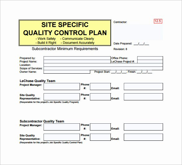 Quality Control Template Excel Fresh Quality Control Plan Template