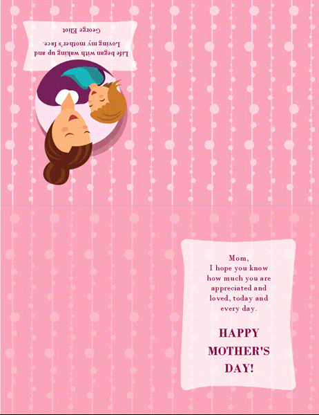 Quarter Fold Card Template Word Lovely Mother S Day Card with Mother and Baby Quarter Fold