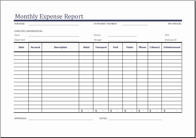 Quarterly Report Template Excel Lovely Monthly Expense Report Template