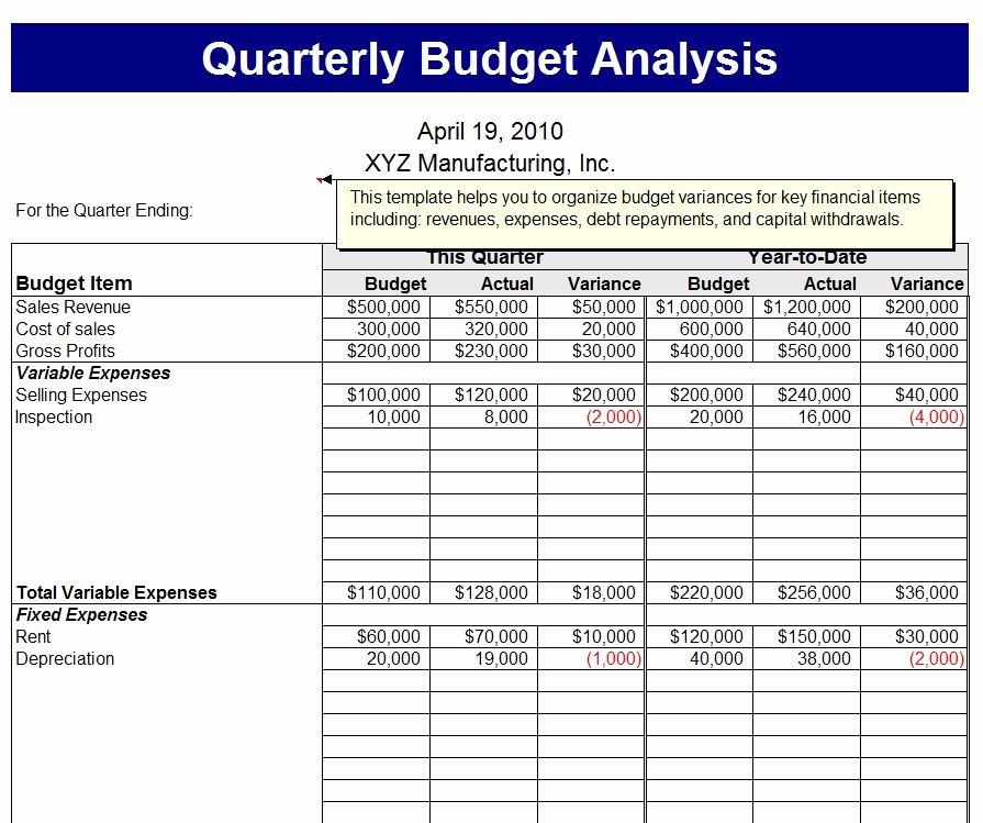 Quarterly Report Template Excel Unique Quarterly Bud Analysis Template