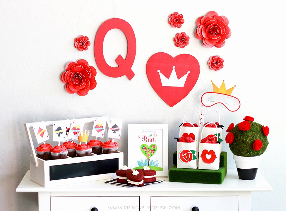 Queen Of Hearts Crown Template Awesome Free Queen Of Hearts Party Printables Printable Crush