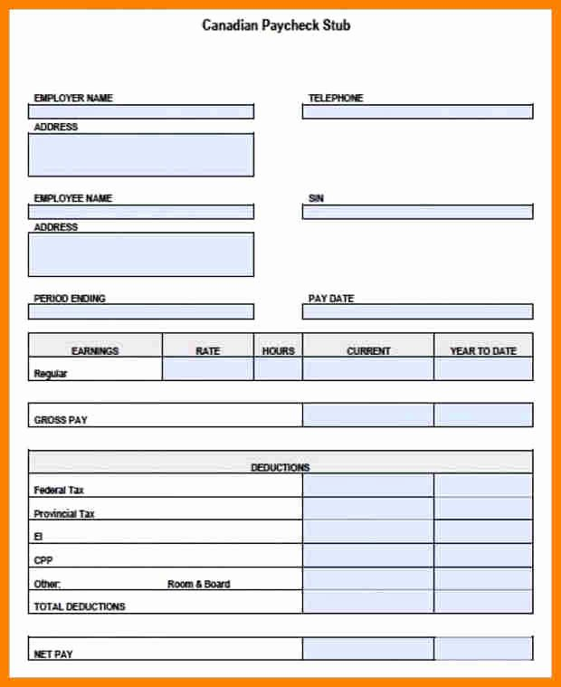 Quickbooks Pay Stub Template Fresh 5 Paycheck Template Pdf