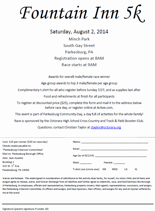 Race Registration form Awesome Octorara Booster Club Sponsored Race Through Parkesburg