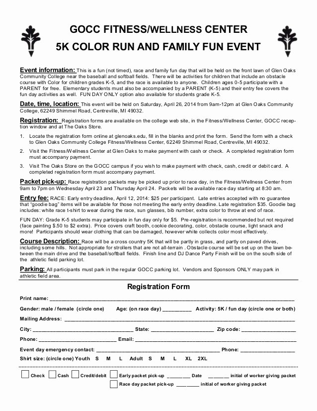Race Registration form Beautiful Color Run Entry form