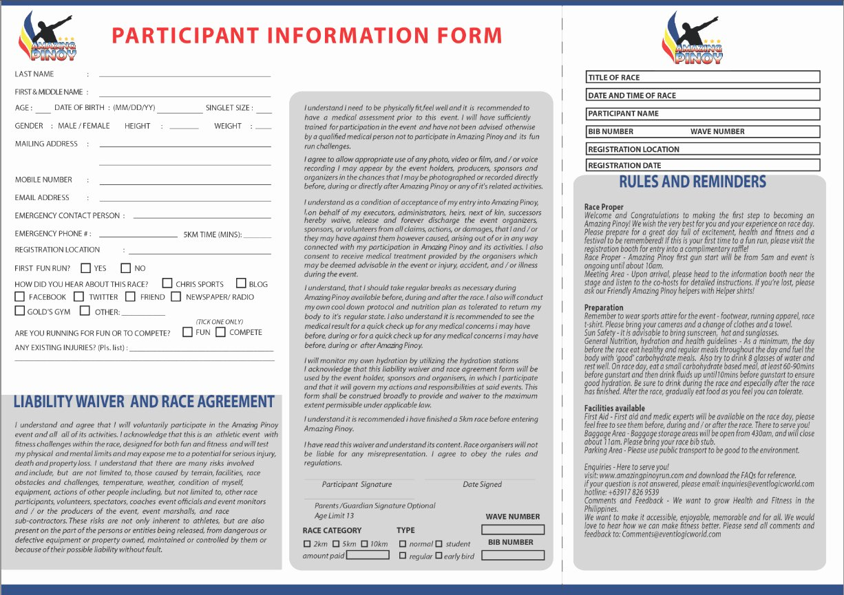Race Registration form Best Of Deemen Runner Amazing Pinoy Fun Run On May 25 2013
