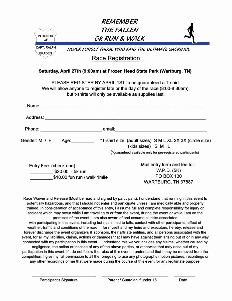 Race Registration form Best Of Wartburg Pd 5k Run and Walk