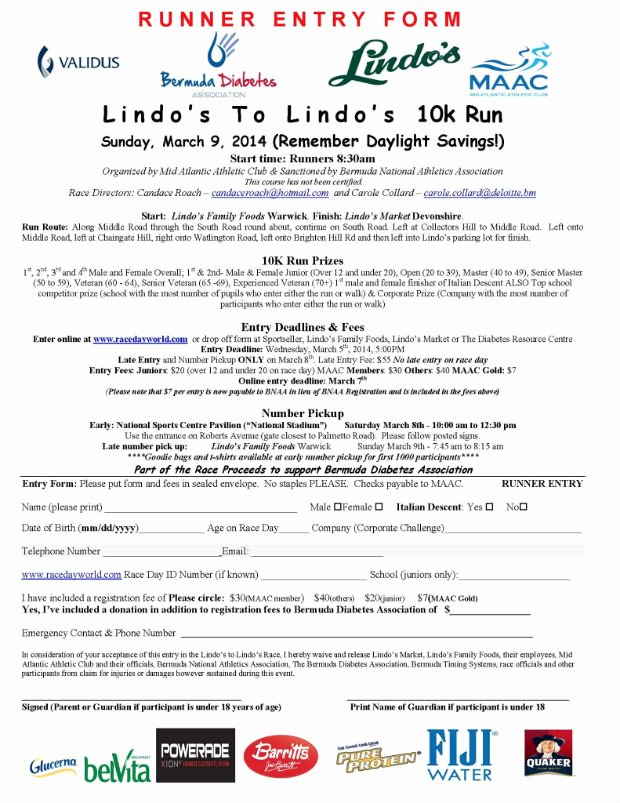 Race Registration form Luxury Lindos to Lindos Road Race Set for Weekend Bernews