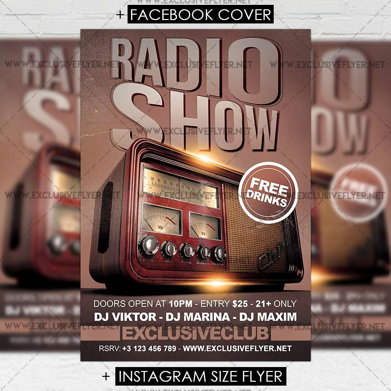 Radio Show format Template Fresh Radio Show – Premium A5 Flyer Template