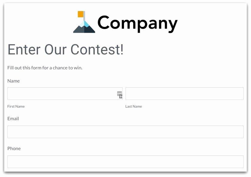 Raffle Entry form Template Elegant Contest form