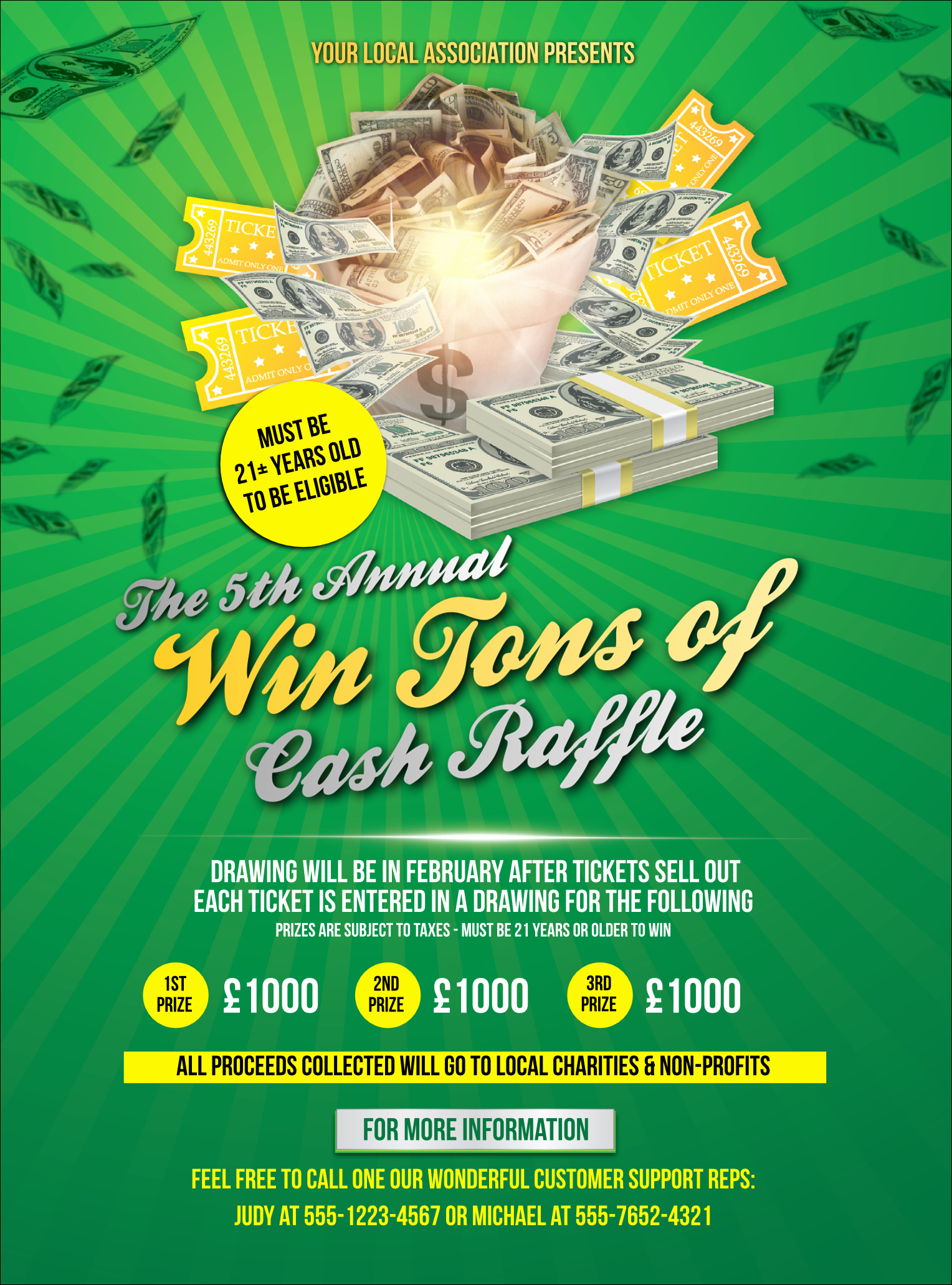 Raffle Flyer Template Free Awesome Cash Raffle Green Flyer