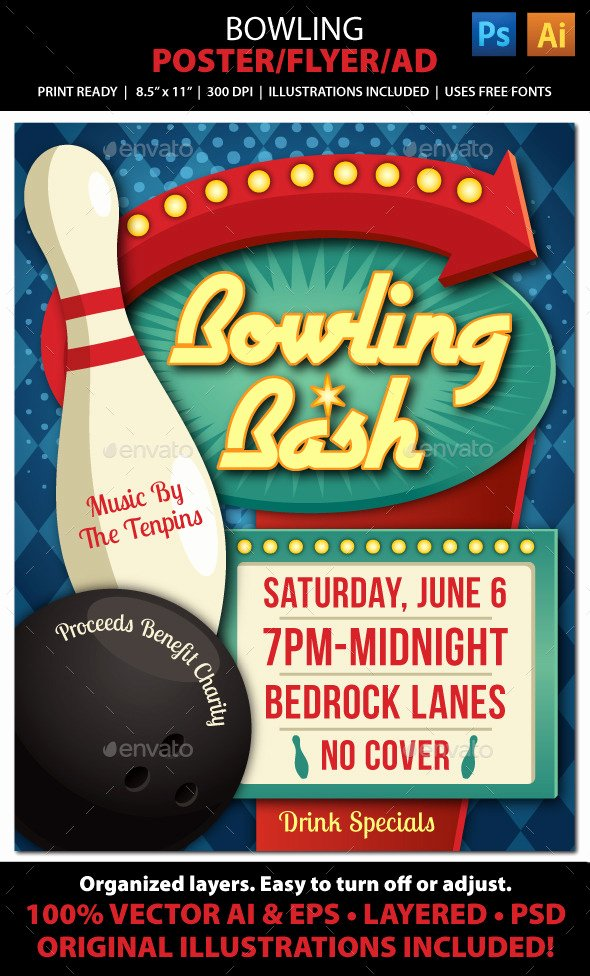 Raffle Flyer Template Free Inspirational Bowling event Poster Flyer Ad Shop Psd V Free