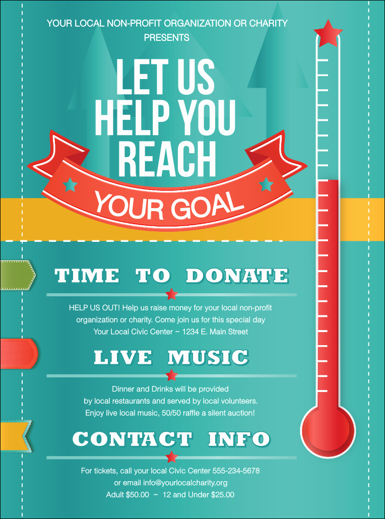 Raffle Flyer Template Free Inspirational Fundraising thermometer Flyer
