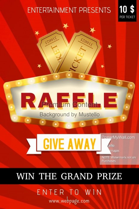 Raffle Flyer Template Free Luxury Red Raffle Poster Template