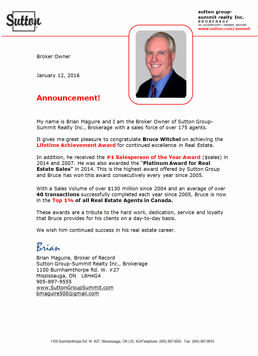 Real Estate Agent Introduction Letter Awesome Announcement Congratulations Mississauga Real Estate