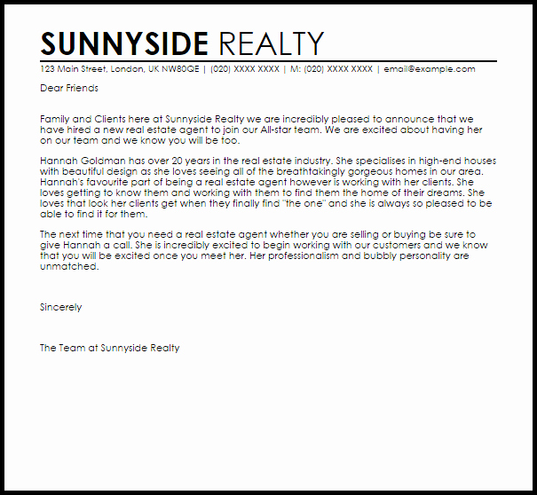 Real Estate Agent Introduction Letter Beautiful Letter New Job Announcement Real Estate Agent Thank You