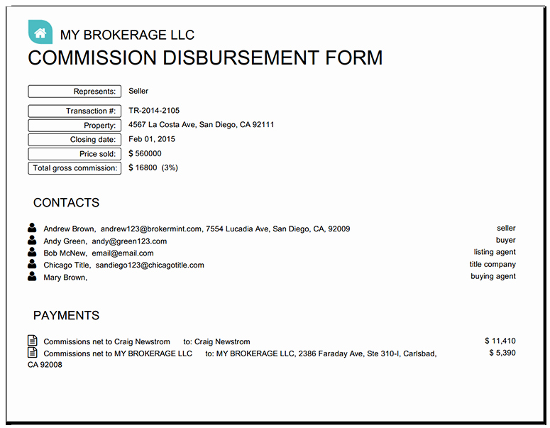 Real Estate Commission Invoice Lovely Real Estate Disbursement form Cda