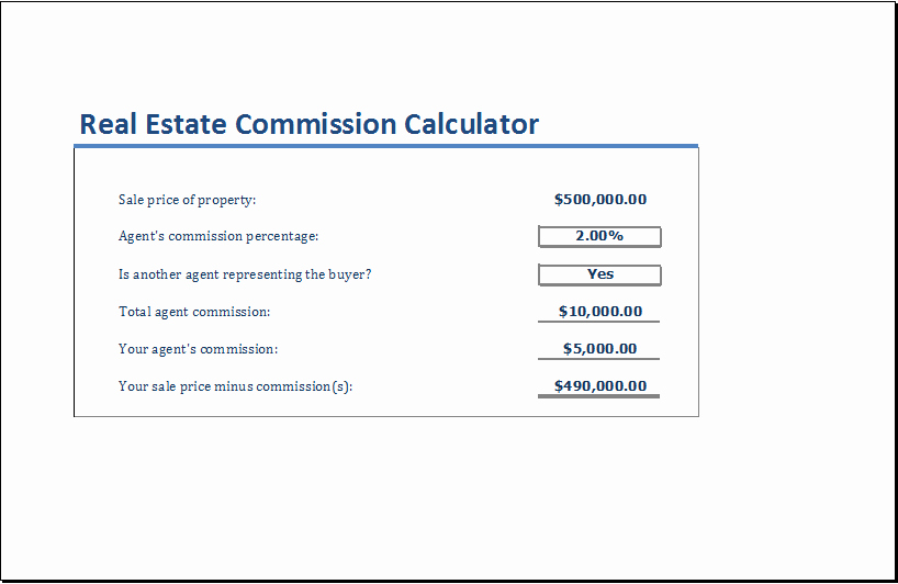Real Estate Commission Invoice Template Awesome Real Estate Mission Calculator Template