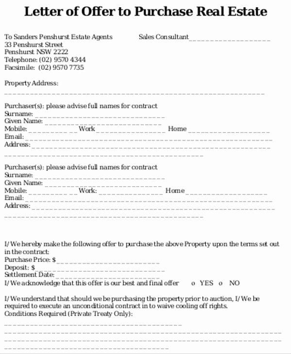 Real Estate Offer Letter Template Free Elegant 8 Real Estate Fer Letter Template 9 Free Word Pdf