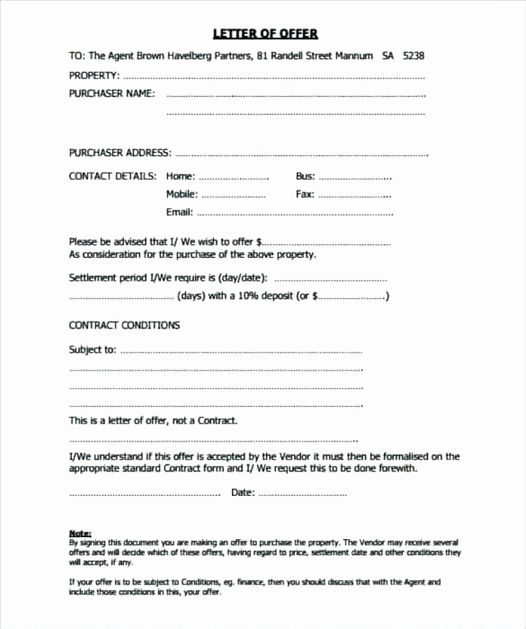 Real Estate Offer Letter Template Free Lovely Offer to Purchase Example – Syncla