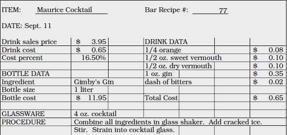 Recipe Cost Card Template Beautiful Beverage Production Control