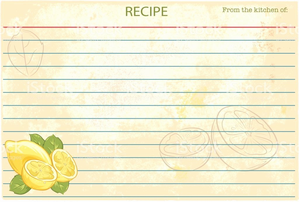 Recipe Cost Card Template Beautiful Old Fashioned Recipe Card Template Lemons Stock Vector Art