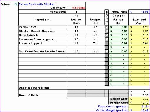 Recipe Cost Card Template Best Of Recipe Costing Template – Blog Dandk