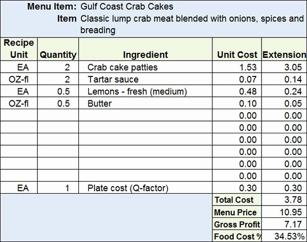 Recipe Cost Card Template Inspirational Download Menu & Recipe Cost Spreadsheet Template