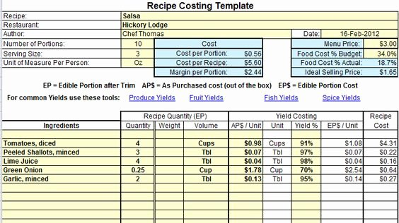 Recipe Cost Card Template Luxury Excel Recipe Costing Template Example