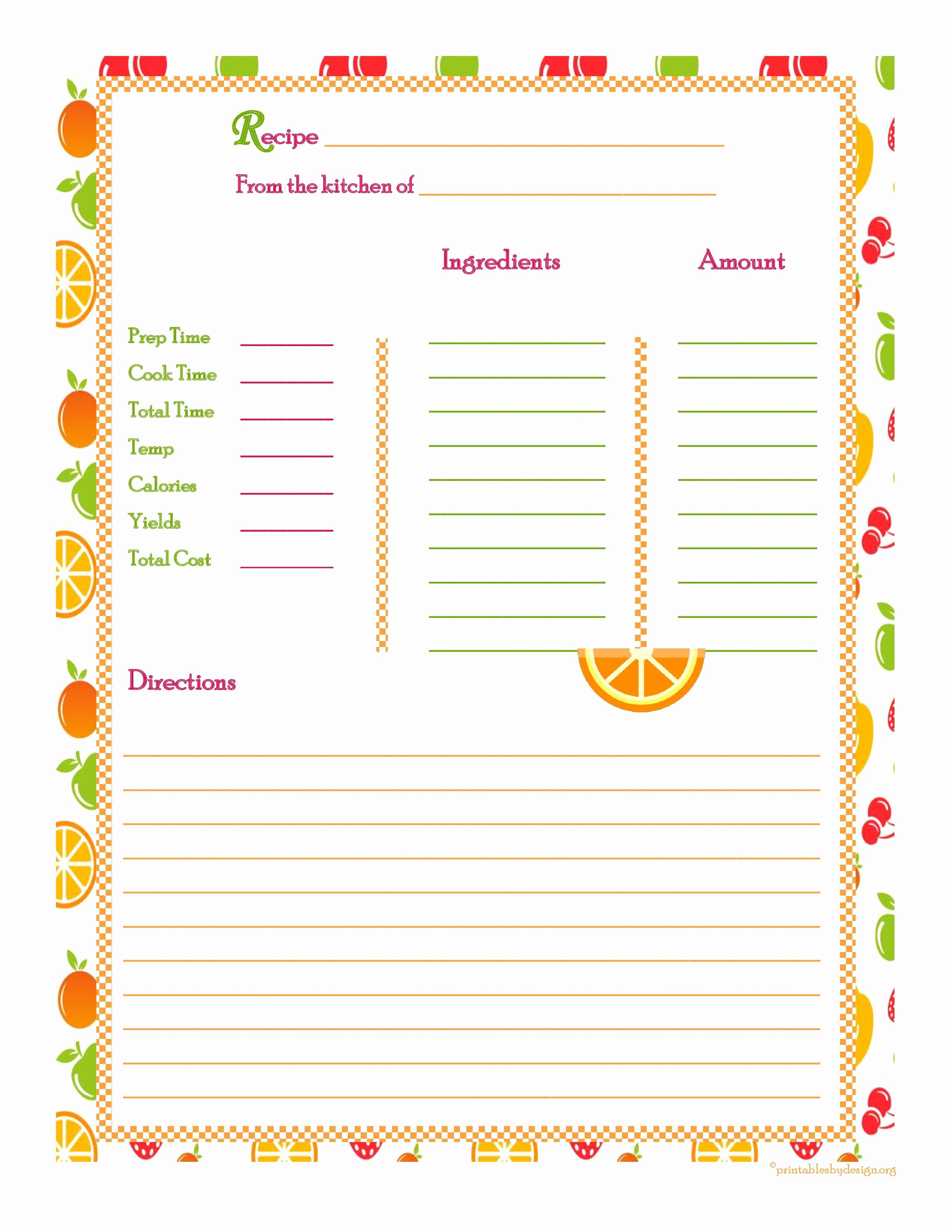 Recipe Cost Card Template Luxury orange Cherry Apple Background Recipe Card Full Page