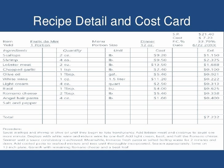 Recipe Cost Card Template New Food Production Control I