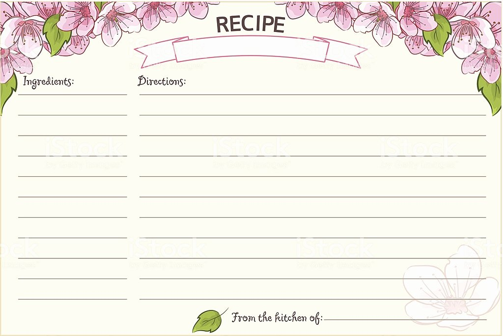Recipe Cost Card Template Unique Old Fashioned Recipe Card Template Floral Stock Vector Art