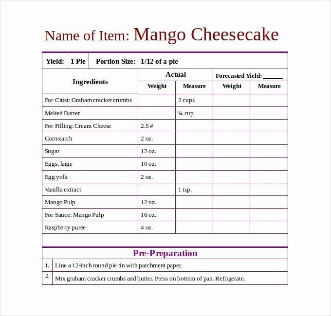 Recipe Template Excel Elegant Recipe Template Dc Design