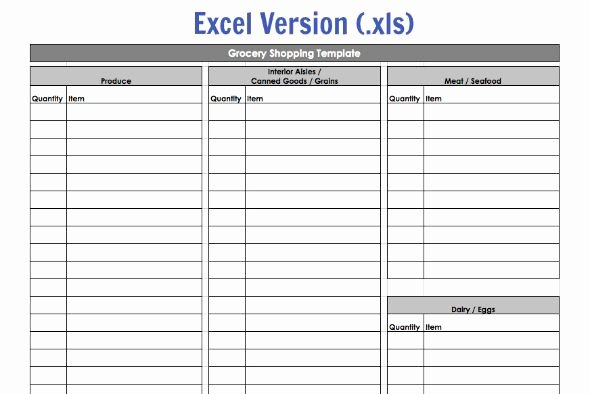 Recipe Template Excel Lovely Grocery Shopping Template My Routine