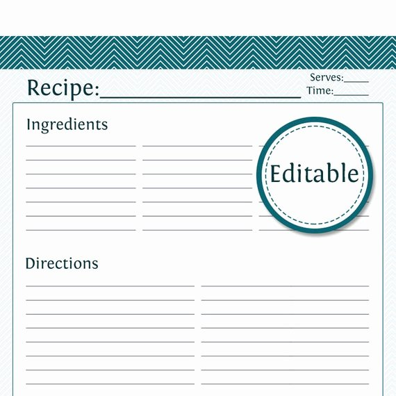 Recipe Template Excel New Recipe Card Full Page Fillable Printable Pdf Instant