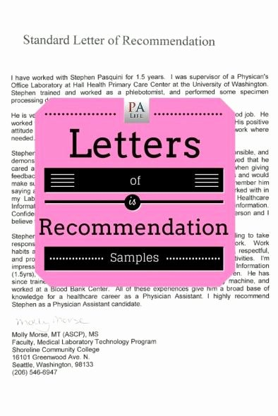 Recommendation Letter for Medical assistant Elegant Sample Pa School Application Letters Of Re Mendation