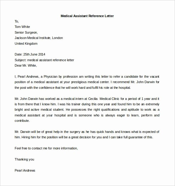 Recommendation Letter for Medical assistant Fresh Medical assistant Reference Letter Template – Airak