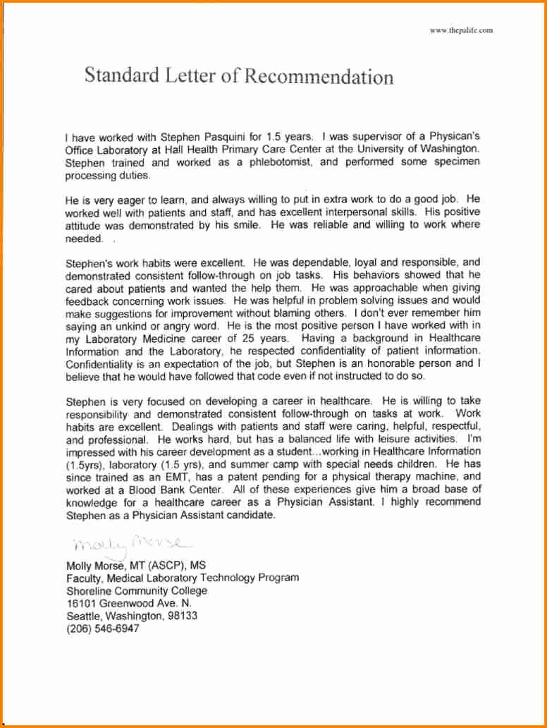 Recommendation Letter for Medical assistant New 11 Re Mendation Letter for Medical School Sample