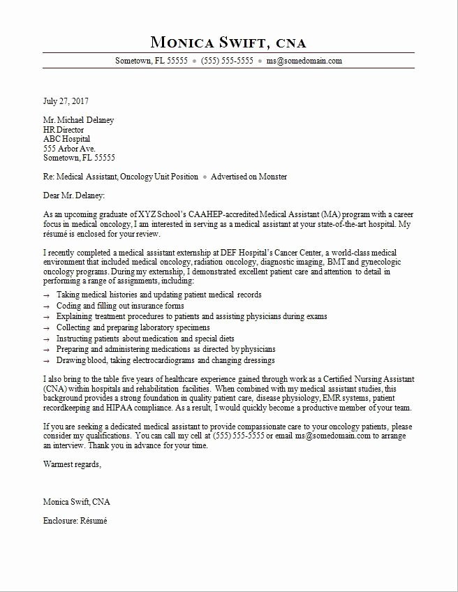 Recommendation Letter for Medical assistant New Medical assistant Cover Letter Sample
