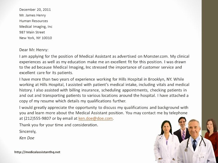 Recommendation Letter for Medical assistant New Medical assistant Cover Letter Samples