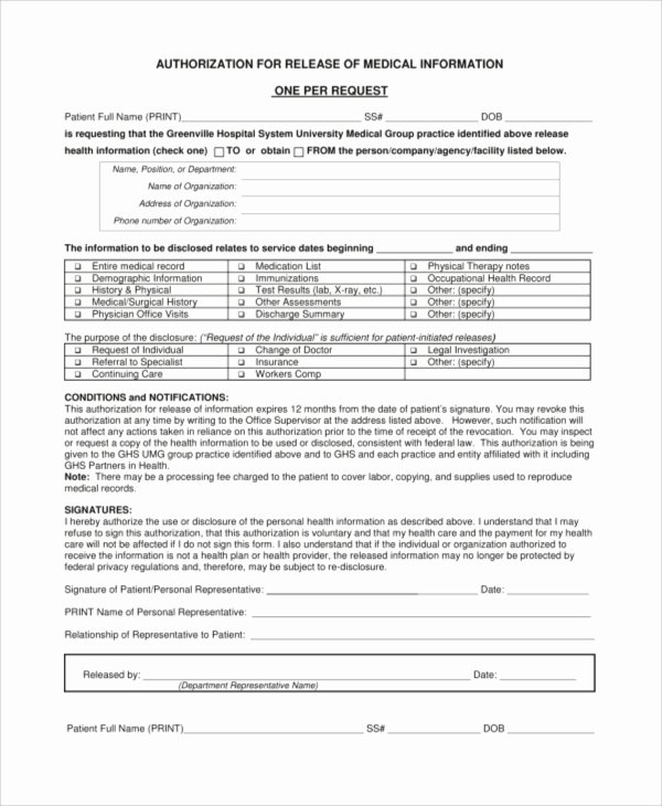 Records Release form Elegant Sample Medical Release form 9 Examples In Pdf