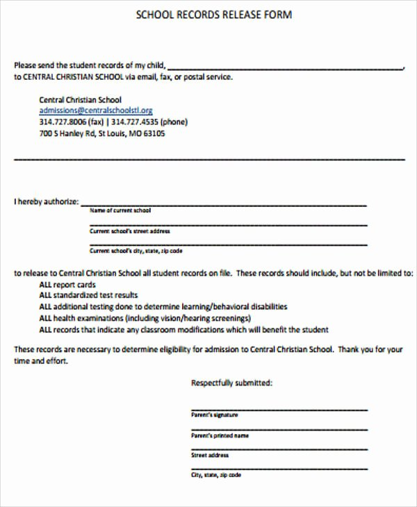 Records Release form Elegant Sample Records Release form 9 Examples In Word Pdf