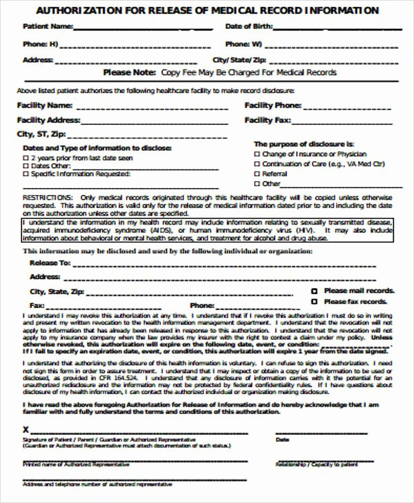 Records Release form Lovely Sample Records Release form 9 Examples In Word Pdf