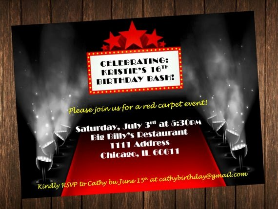Red Carpet Invitation Template Free Awesome Invitation Danniversaire à Thème Tapis Rouge Hollywood